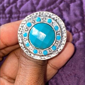 Silver and teal adjustable ring